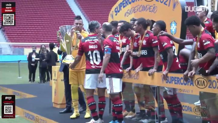 Flamengo celebrate with Brazil Super Cup trophy