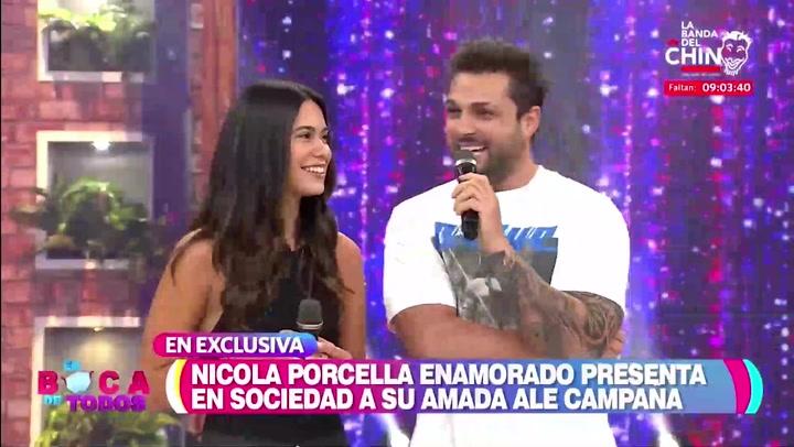 Nicola Porcella presentó en TV a su novia Ale Campaña