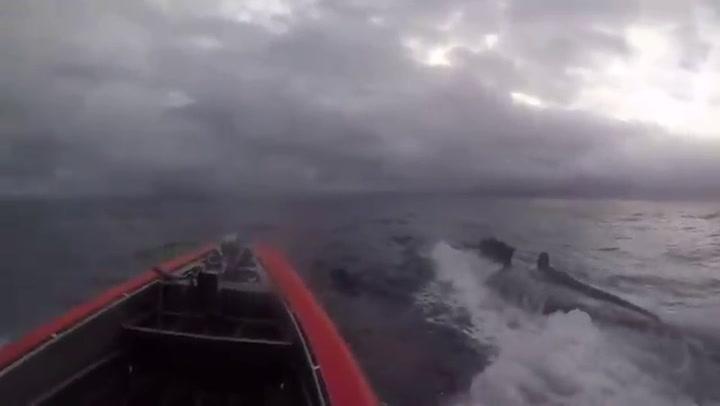 Espectacular asalto de la U.S. Guard a un submarino cargado de drogas