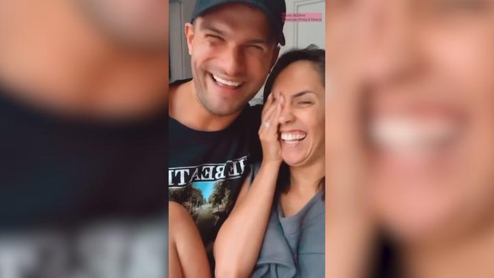 Janette Manrara and Aljaz Skorjanec attempt to announce podcast