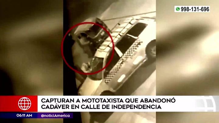 Independencia: detienen a mototaxista que fue grabado cuando abandonaba cadáver de joven