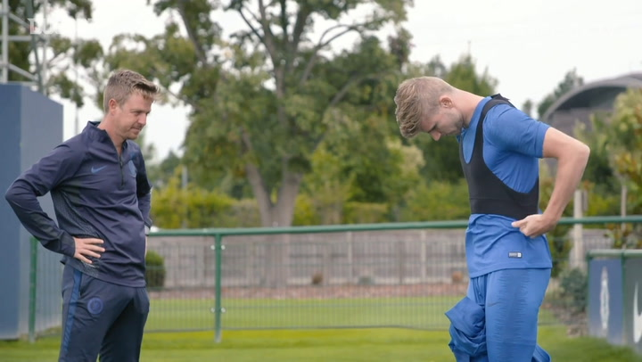 Timo Werner's first Chelsea training session