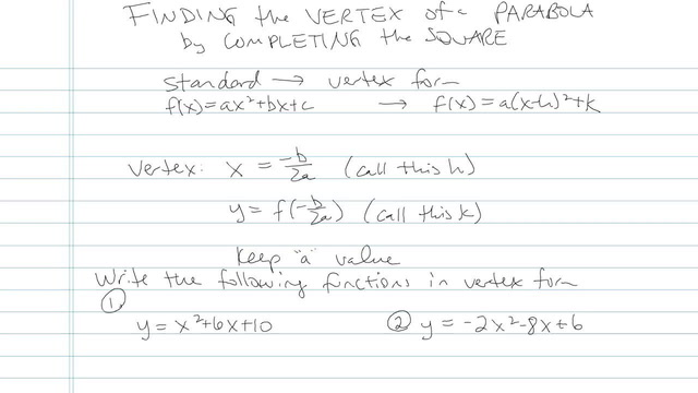 Finding the Vertex of a Parabola by Completing the Square - Problem 5
