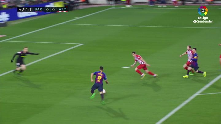 LaLiga: Barça - Atlético Madrid. Parada de Jan Oblak a disparo de Luis Suárez en el minuto 61