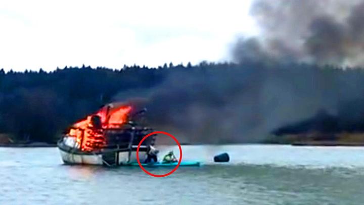 Fisker fanget i flammehav – så kommer redningen