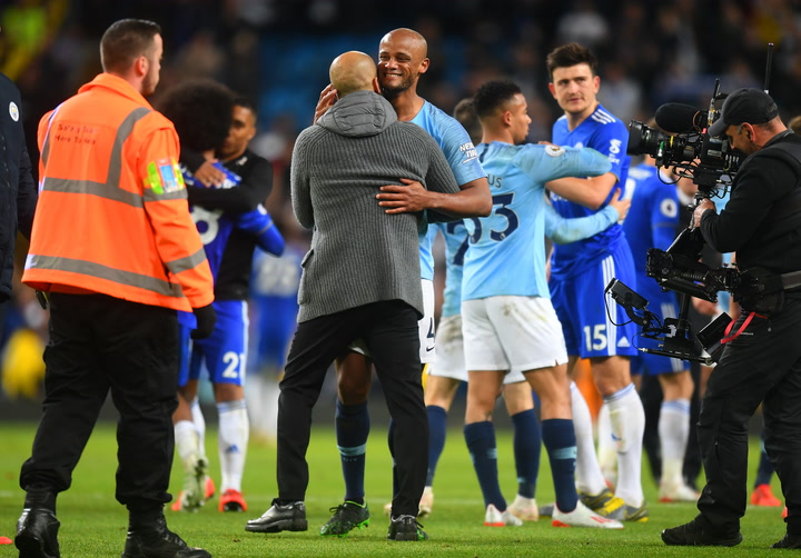 Los jugadores del City celebran su victoria ante el Leicester