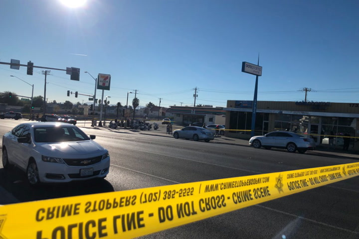 Las Vegas police give a briefing after a man was shot and killed by an officer following a traffic stop. (Rio Lacanlale/Las Vegas Review-Journal)