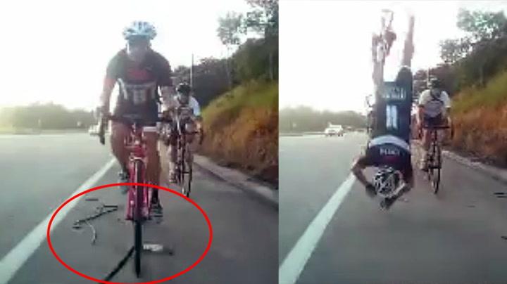 Syklist fikk brutalt møte med metallstang
