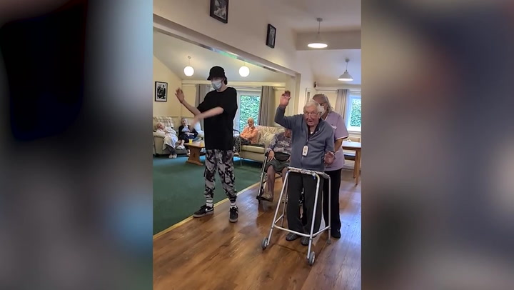 Autistic teenager teaches 101-year-old how to street dance and 'body pop'