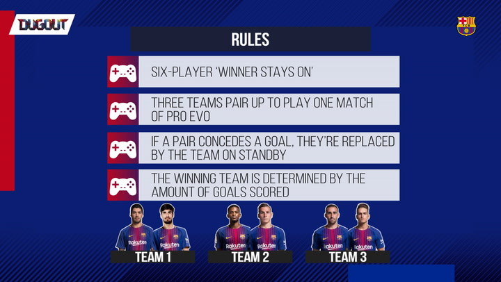 Barça's hilarious 6 player Pro Evo challenge!