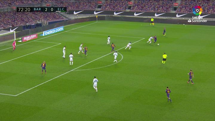 Gol de Jordi Alba (3-0) en el Barcelona 3-0 Elche