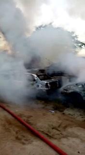 Unos 60 vehículos se quemaron en aparcadero de Tránsito en San Pedro Sula