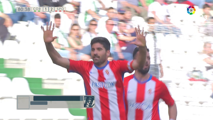 LaLiga 1|2|3: Córdoba - Real Sporting del 17/03/2019. Gol de Carlos Carmona