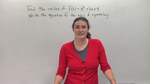 The Vertex and Axis of Symmetry - Problem 2