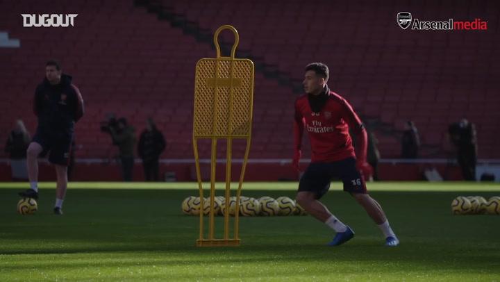 Arsenal train at the Emirates Stadium
