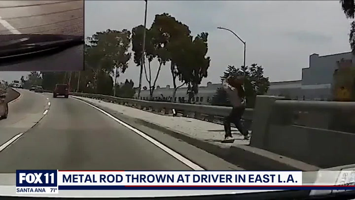 Metal rod thrown at unsuspecting driver on Los Angeles freeway