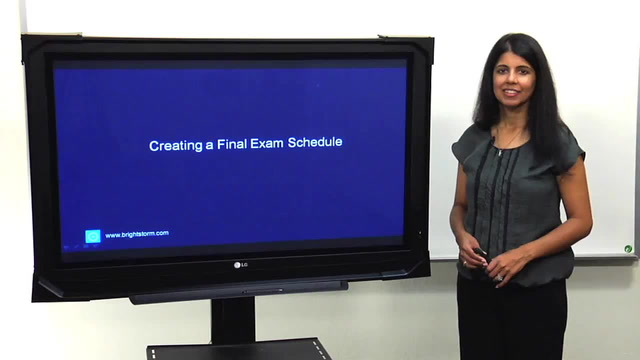 Creating a Final Exam Schedule