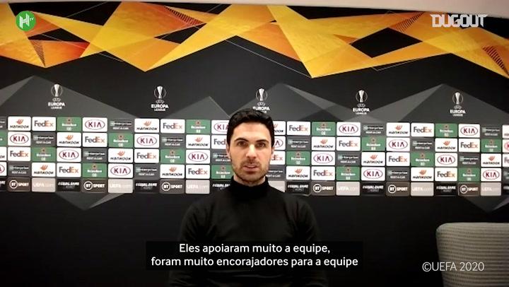 """Arteta exalta volta dos torcedores ao Emirates Stadium: """"faz uma grande diferença"""""""