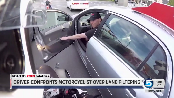 Driver Confronts Motorcyclists Over Lane Filtering
