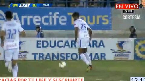 Eddie Hernández marca el 0-1 para Olimpia ante UPN