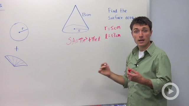 Surface Area of Cones - Problem 1