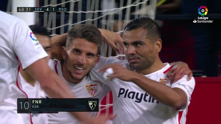 LaLiga: Sevilla-Real Sociedad. Gol de Oyarzabal en propia puerta (5-1 p.p.)