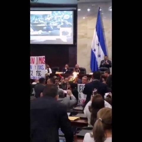 Momento en que el diputado Ramón Soto quema la Constitución en el Congreso Nacional