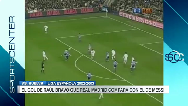 Gol de Raúl Bravo (Real Madrid) al Recreativo en la temporada 2002-03