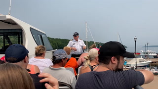 Captain Mike Garnich of Apostle Islands Cruises gave instructions to passengers of the Archipelago on Sunday, July 11, 2021 as the boat tour prepared to leave Bayfield to see sea caves and lighthouses in the Apostle Islands. (Dan Williamson / dwilliamson@duluthnews.com)