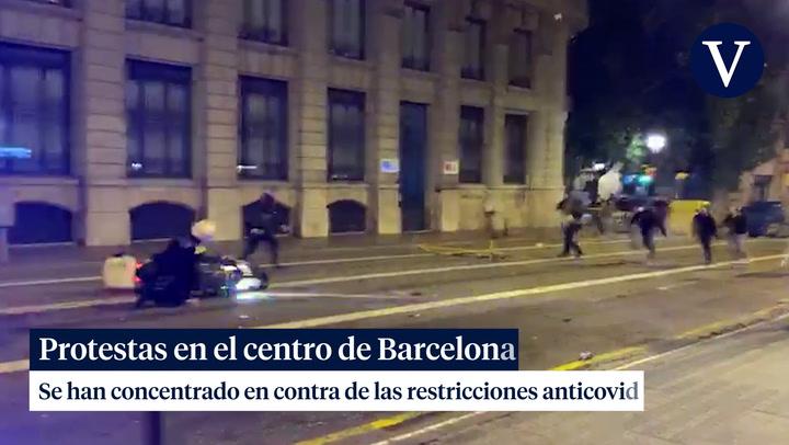 Protestas en la plaça Sant Jaume de Barcelona