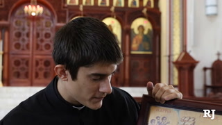 Rev. Father Seraphim Ramos talks about Greek Orthodox icons during an interview with the LVRJ