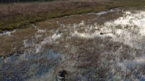 Drone footage from a duck hunter rescue mission Saturday, Oct. 3, after spending several hours in the water of Rice Lake in the Hesitation Wildlife Management Area in Bay Lake Township south of Highway 18 between Brainerd and Garrison.