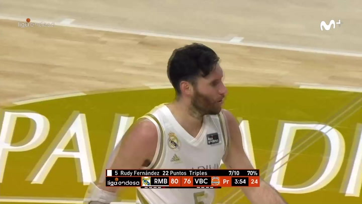 Rudy Fernández se salió anotando siete triples ante Valencia Basket