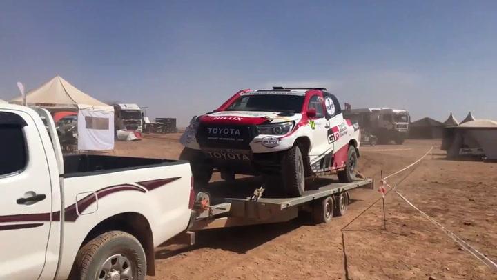 Así llega el Toyota Hilux de Alonso y Coma tras sufrir un accidente en el Rally de Marruecos