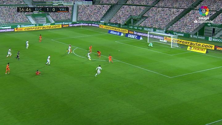 Gol de Fidel (2-0) en el Elche 2-1 Valencia