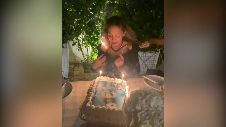 Nicole Richie sets her hair on fire at 40th birthday party