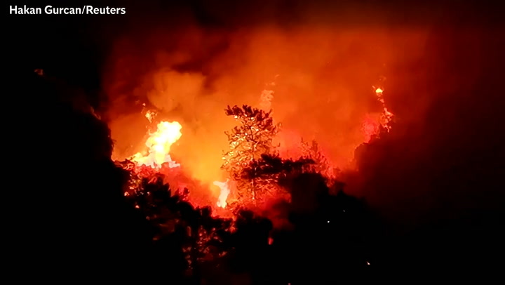 Wildfire forces hotel guests to evacuate in turkey