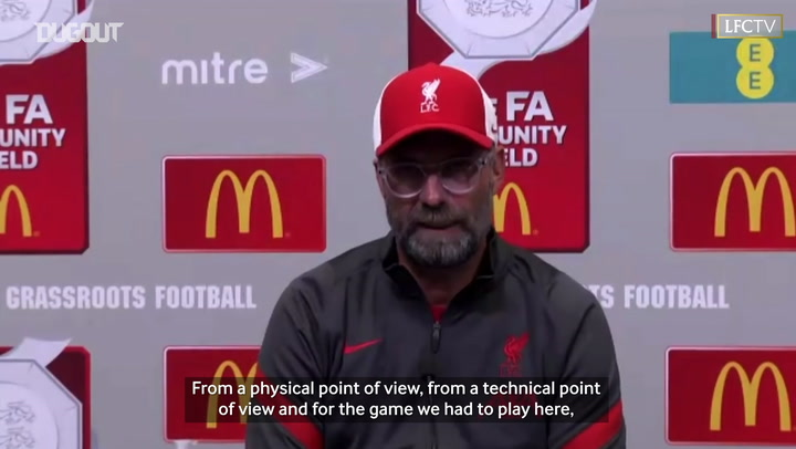 Klopp discusses Liverpool's Community Shield performance