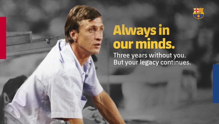 El Barça recuerda a Cruyff en el tercer aniversario de su fallecimiento
