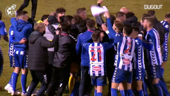 Momentos post-partido tras la victoria del Alcoyano