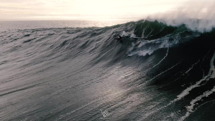A magnificent tow-in wave of Kai Lenny's from January 2nd, 2021. Shot by Abe Alarcon (@alarcon_cinema)