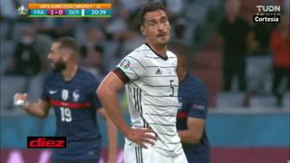 Mala fortuna: Mats Hummels anota en propia puerta y Francia se pone a ganar ante Alemania