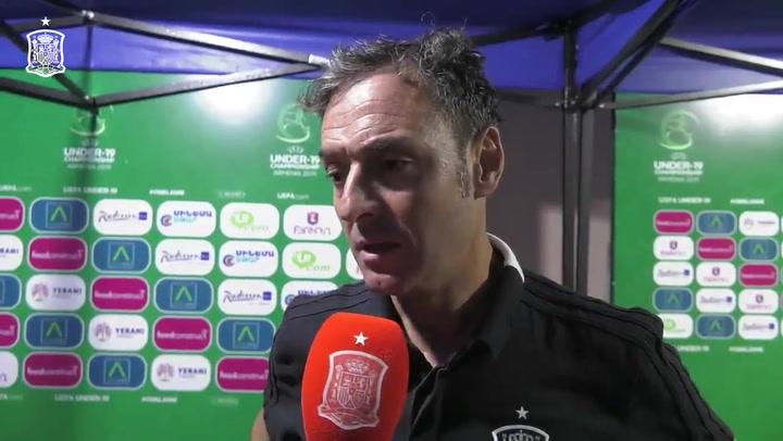 Santi Denia, Ricard Sánchez y Sergio Gómez analizan el empate de la sub-19 ante Portugal