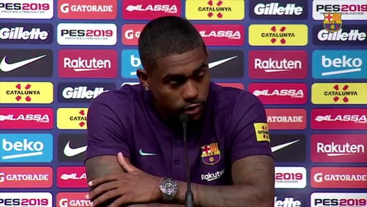 La presentación de Malcom como nuevo jugador del Barça, en 2018