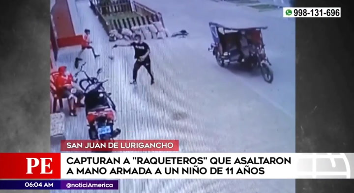 SJL: Chapan a dos ladrones que le arrebataron su celular a niño de 11 años mientras jugaba con su hermanito en la calle
