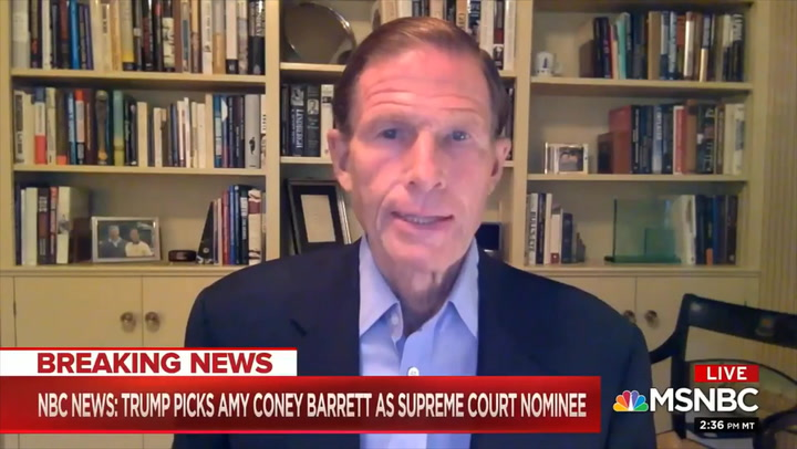 Dem Sen. Blumenthal: I Won't Meet with Barrett, 'It Would Treat This Process as Legitimate'