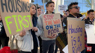 Homeless camping ban protest at Las Vegas City Hall – Video