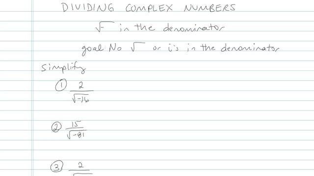 Dividing Complex Numbers - Problem 4