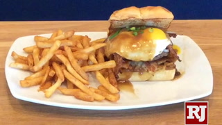 Making the Loco Moco Breakfast Burger at Broken Yolk Cafe in Las Vegas