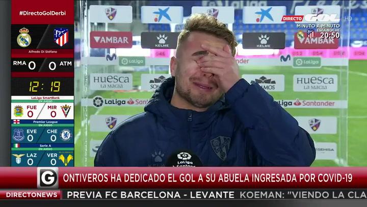 """Ontiveros: """"El gol va dedicado a mi abuela, que está hospitalizada con Covid"""""""